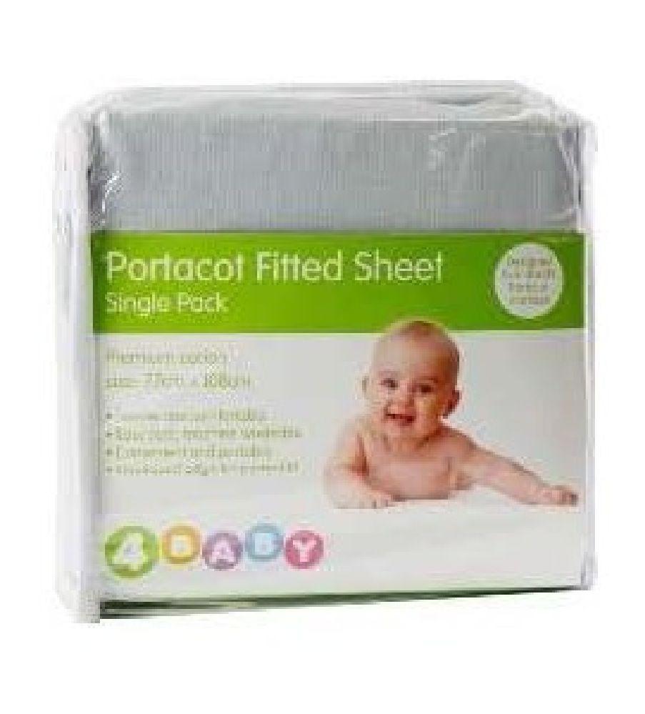 4Baby Portacot Sheet Plain Silver