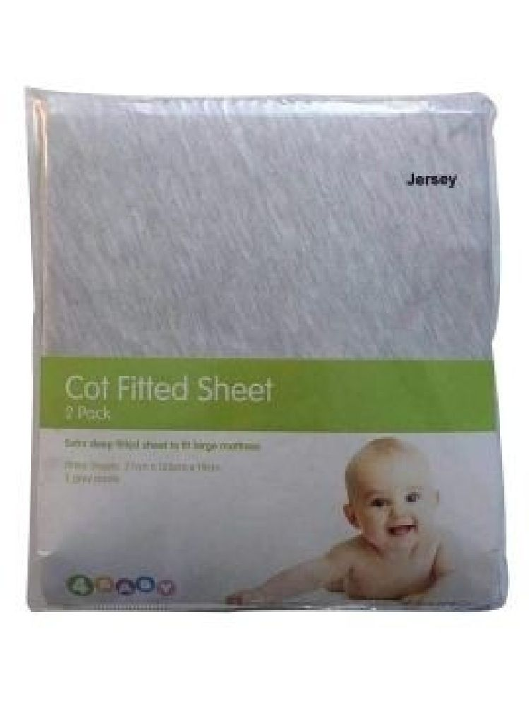 4Baby Jersey Cot Fitted Sheet Grey 2 Pack
