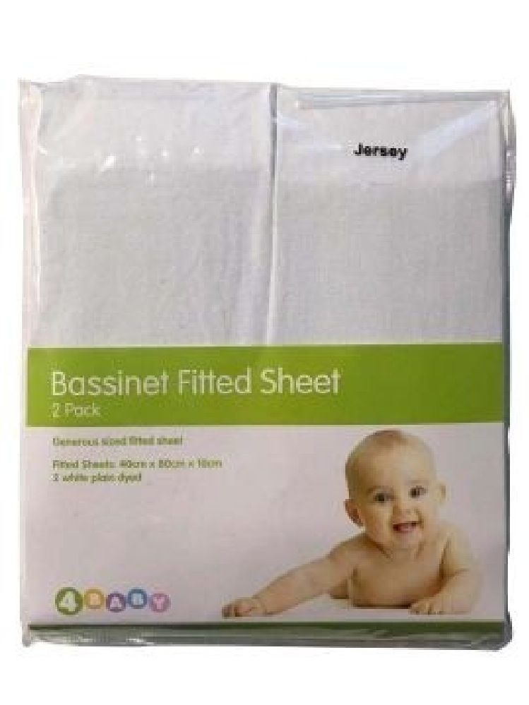 4Baby Jersey Bassinet Fitted Sheet White 2 Pack