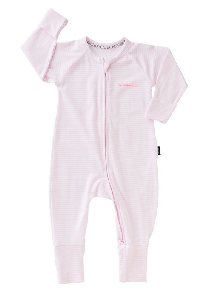 Bonds Zippy Wondersuit Long Sleeve Pink Stripe image 0