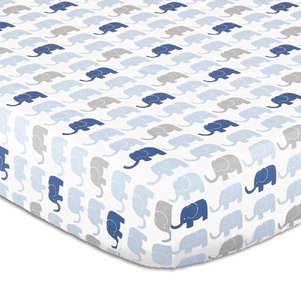 The Peanut Shell Little Peanut Cot Fitted Sheet Elephant image 0