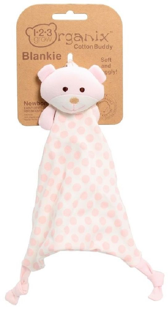 123 Grow Organix Blankie Bear Pink