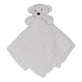 Living Textiles Cable Knit Security Blanket Bear White