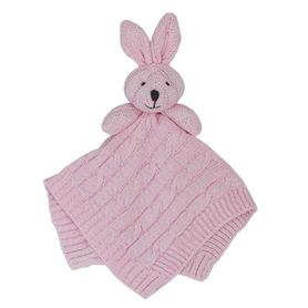 Living Textiles Cable Knit Security Blanket Bunny Pink