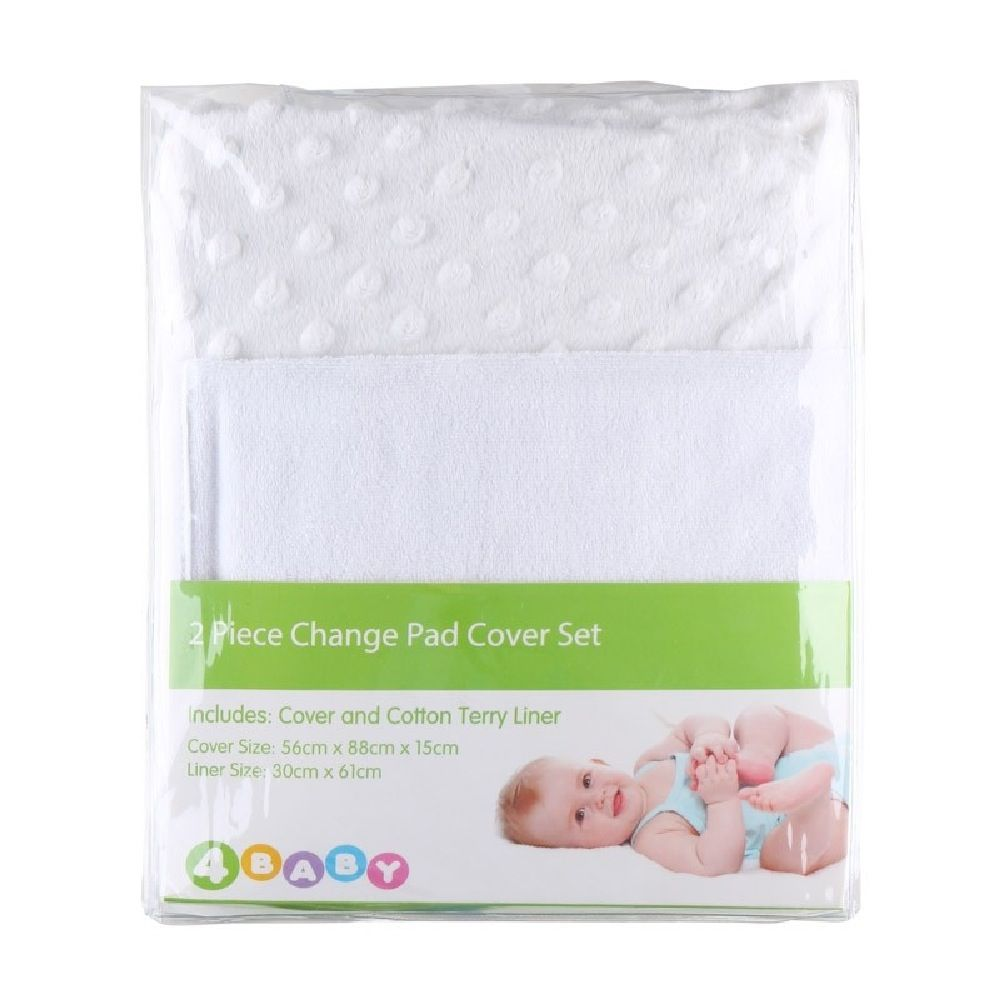 4Baby Dot Change Pad Cover With Liner White