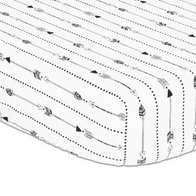 The Peanut Shell Little Adventurer Cot Fitted Sheet Arrows