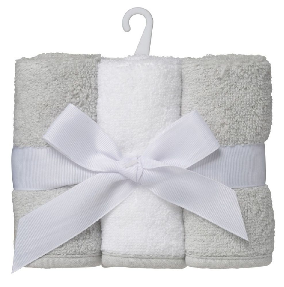 Playgro 3 Pack Wash Cloth Grey