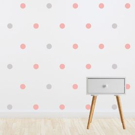 Living Textiles Wall Decal Set Pink & Grey Spots