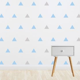 Living Textiles Wall Decal Set Blue & Grey Triangles