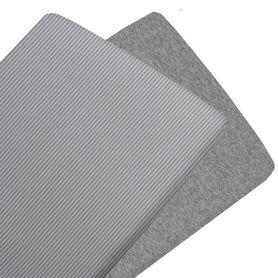 Living Textiles Jersey Bassinet Fitted Sheet Grey Stripe/Melange 2 Pack