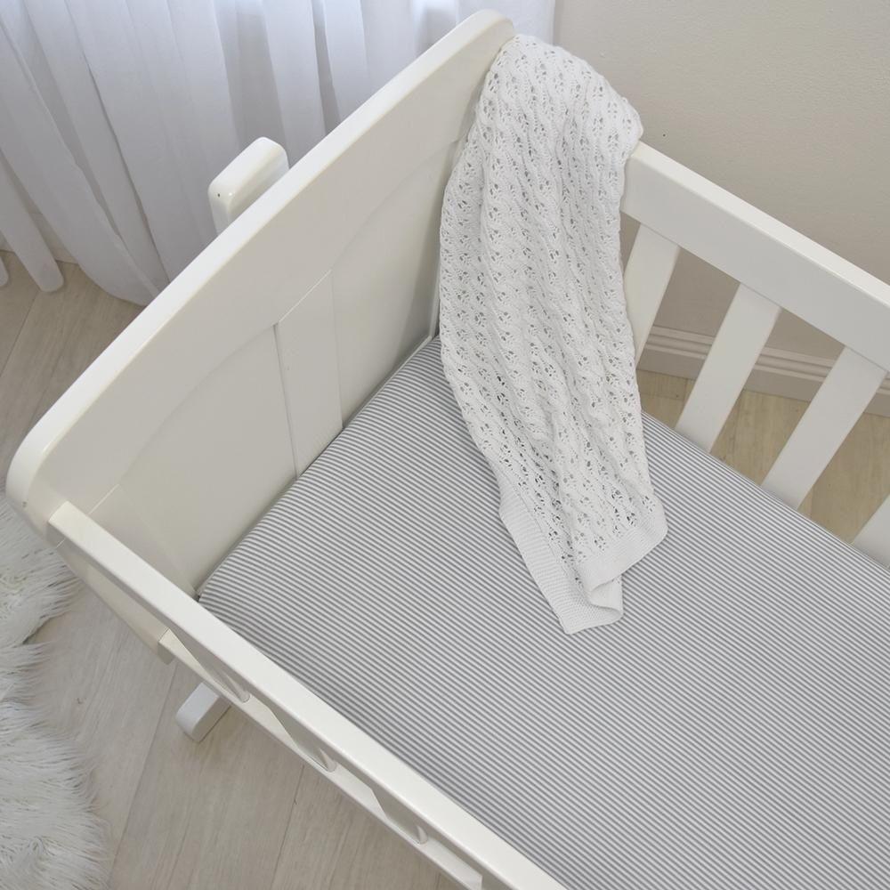 Living Textiles Jersey Bassinet Fitted Sheet Grey Stripe/Melange 2 Pack image 1