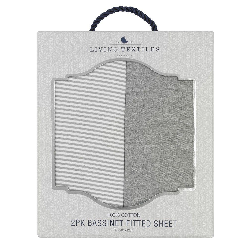 Living Textiles Jersey Bassinet Fitted Sheet Grey Stripe/Melange 2 Pack image 3