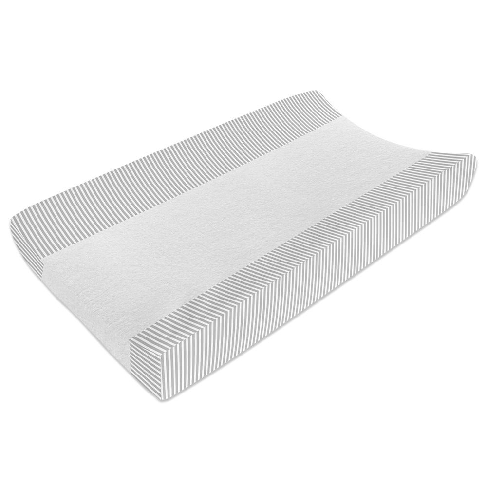 Living Textiles Jersey Change Pad Cover Grey Stripe image 2