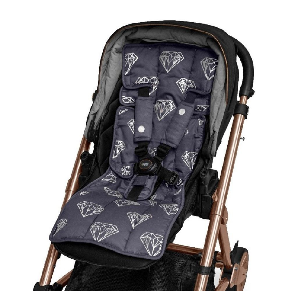 Outlook Get Foiled Pram Liner Charcoal With Silver Diamonds image 0