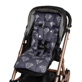 Outlook Get Foiled Pram Liner Charcoal With Silver Diamonds