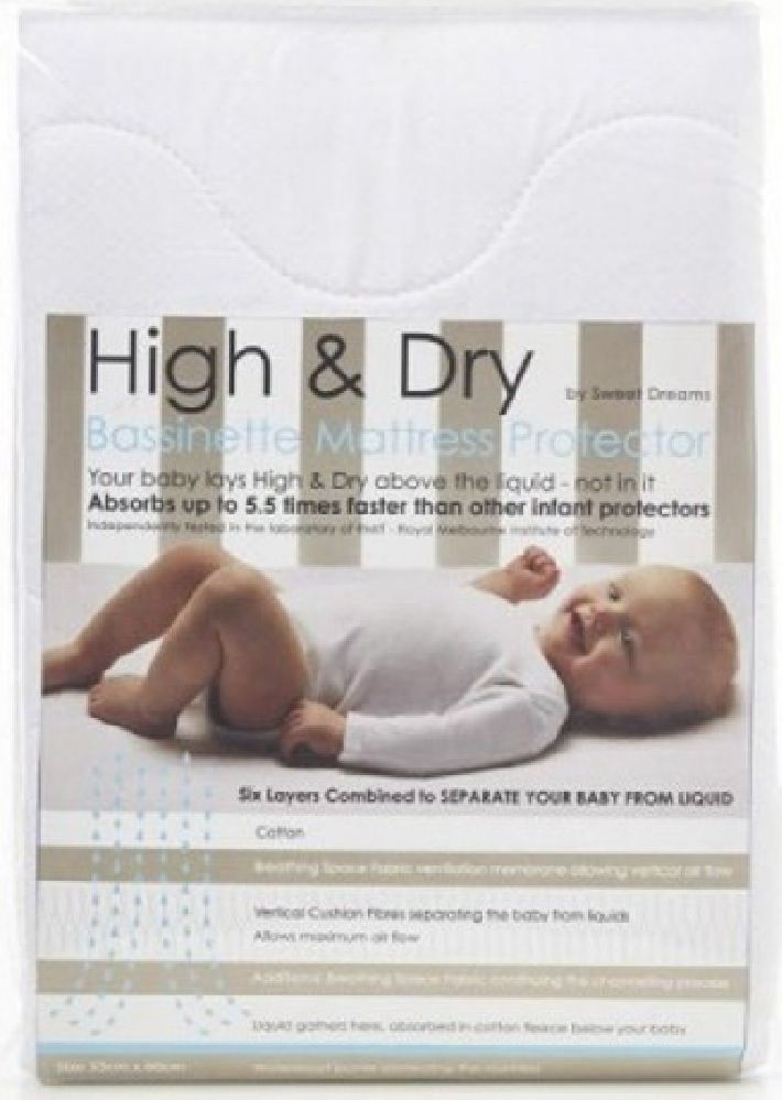 High & Dry Mattress Protector Bassinet White