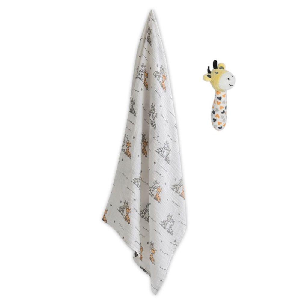 The Little Linen Company Muslin Wrap & Toy Orange Giraffe