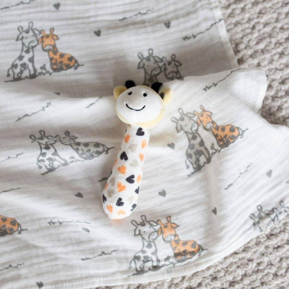 The Little Linen Company Muslin Wrap & Toy Orange Giraffe image 2