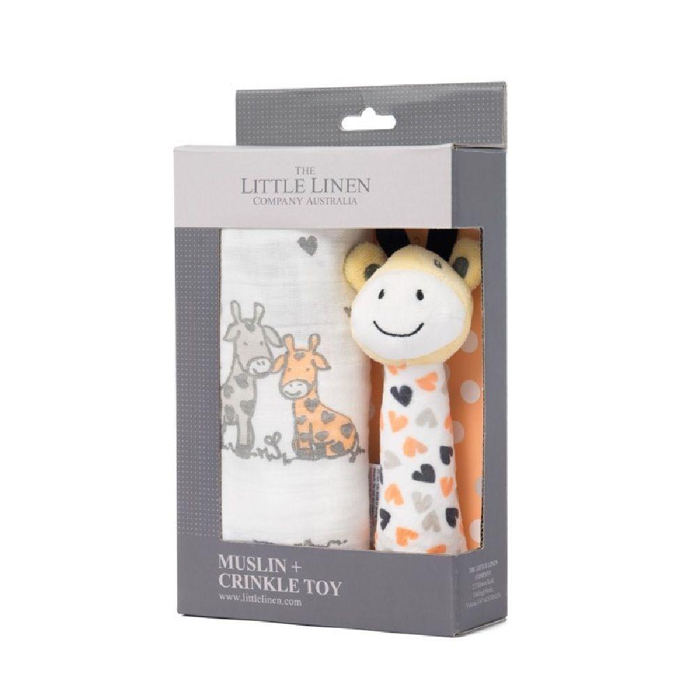 The Little Linen Company Muslin Wrap & Toy Orange Giraffe image 3