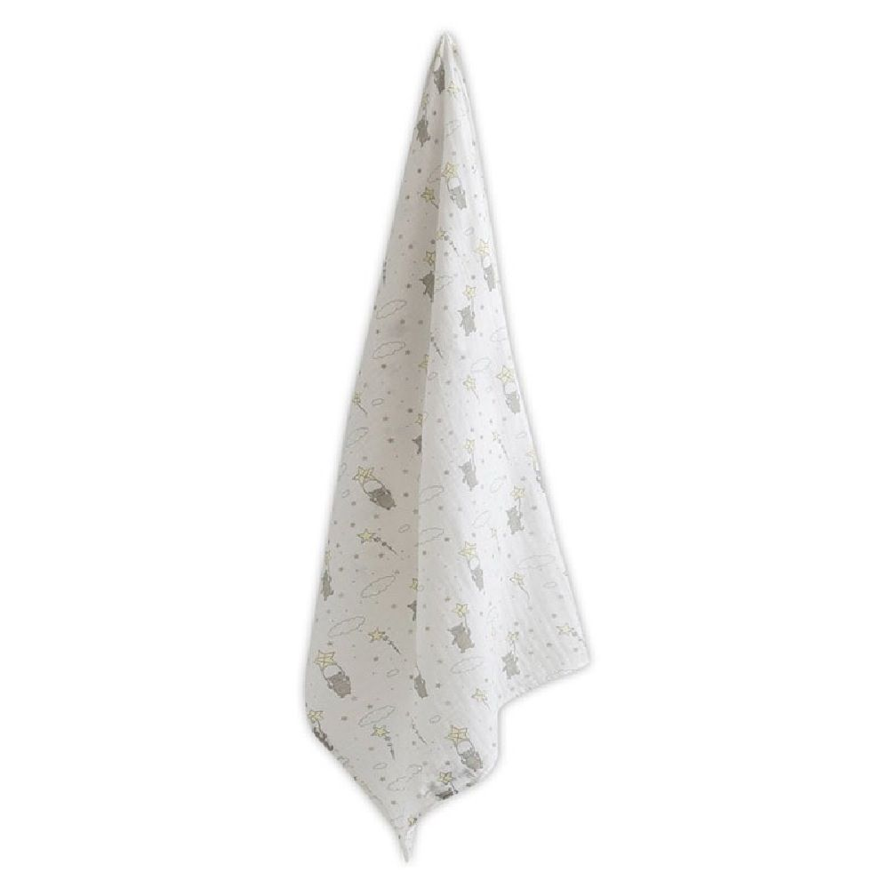 The Little Linen Company Muslin Printed Wrap Bears & Stars