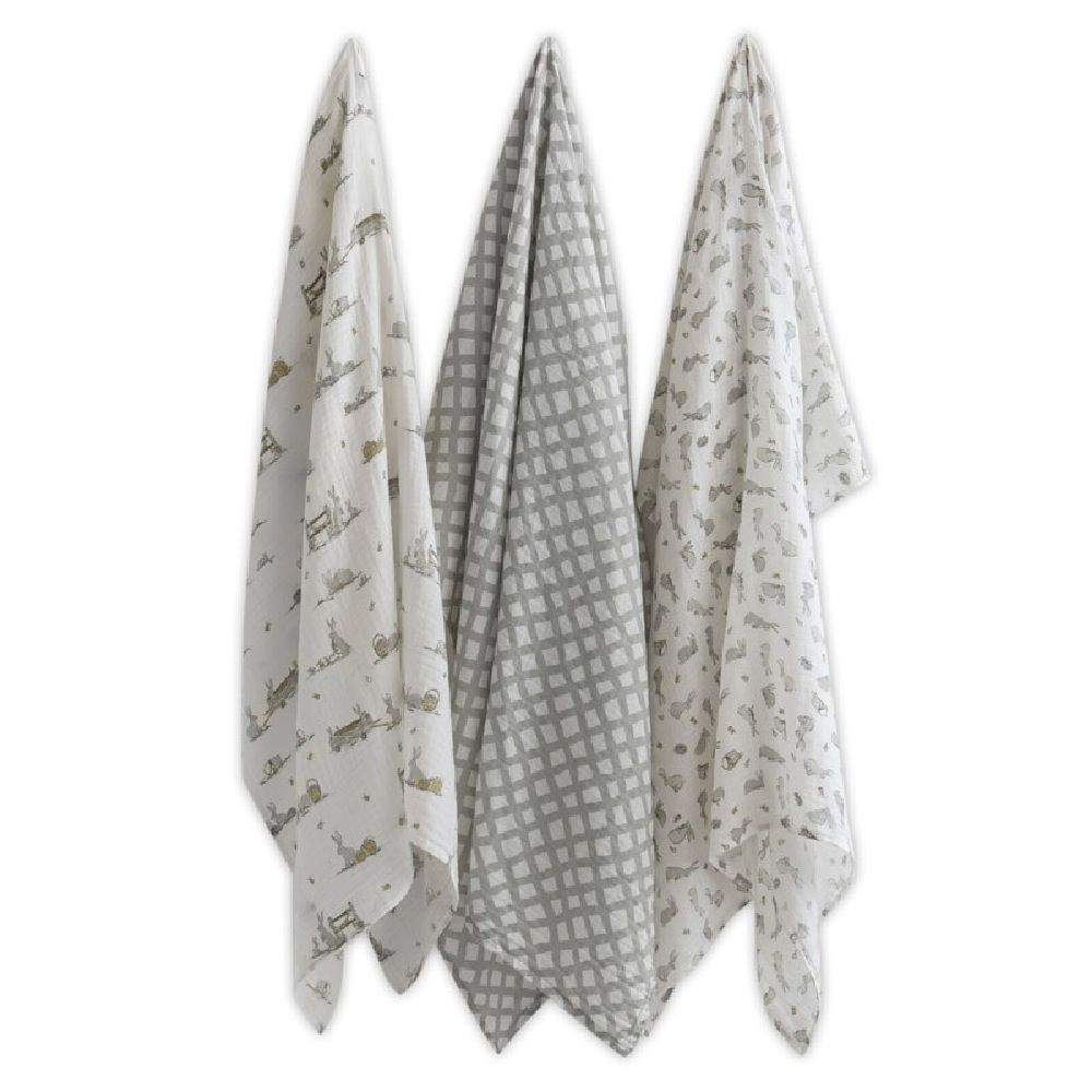 The Little Linen Company Muslin Printed Wrap Country Bunnies 3 Pack