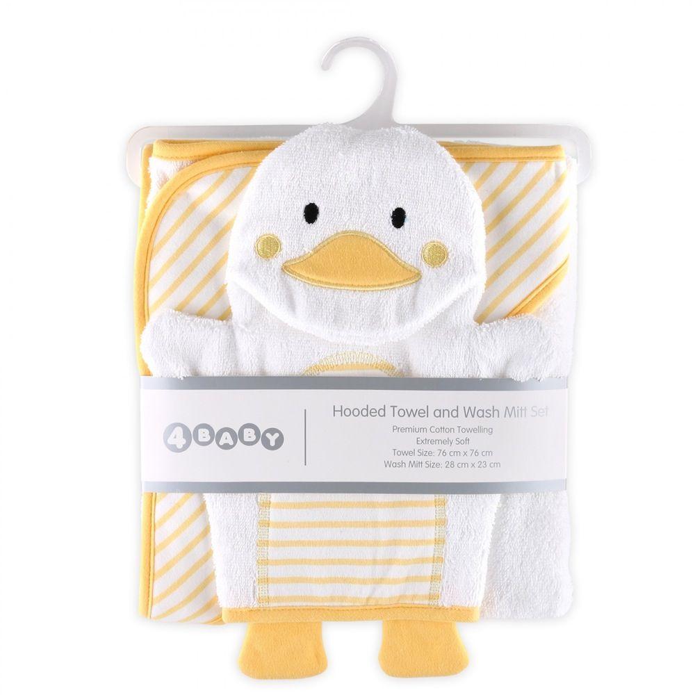 4Baby Hooded Towel & Wash Mitt Yellow Duck image 1