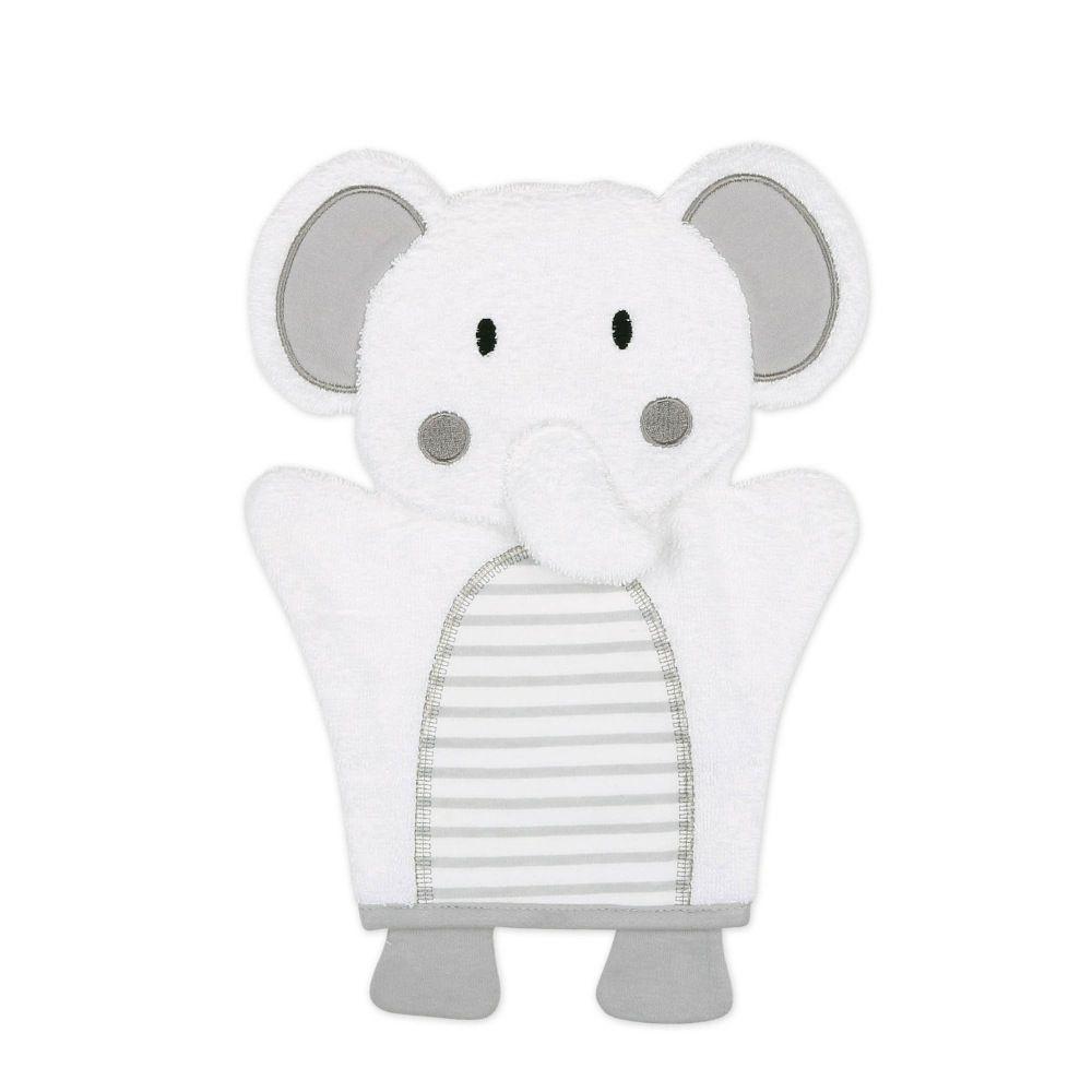 4Baby Hooded Towel & Wash Mitt Grey Elephant