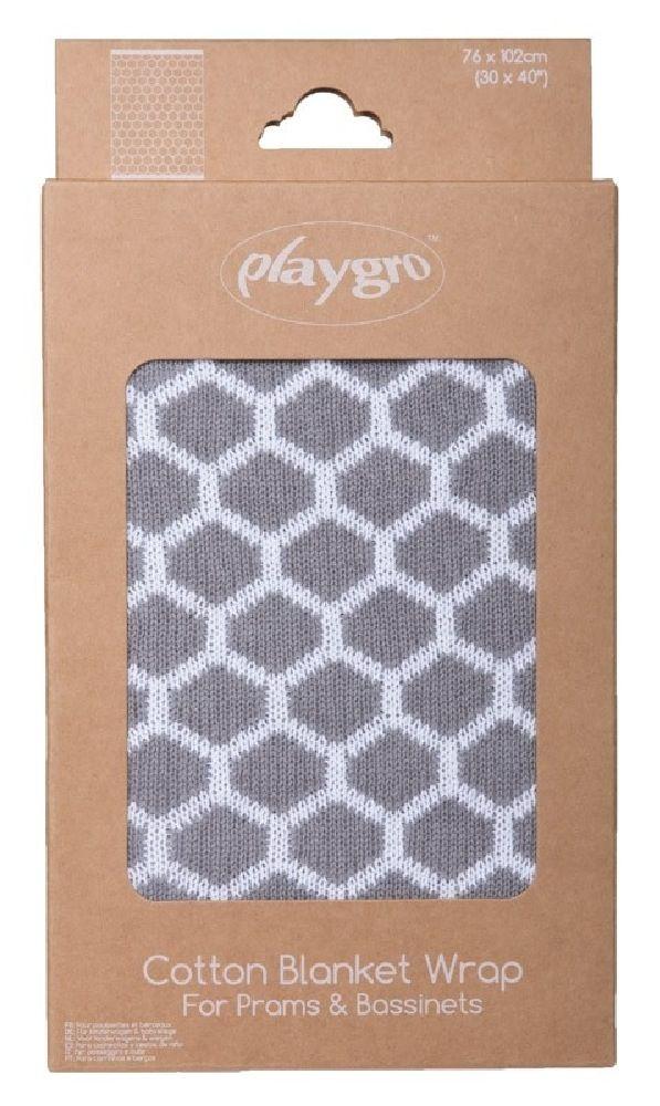 Playgro Knitted Blanket Honeycomb Grey/White image 1