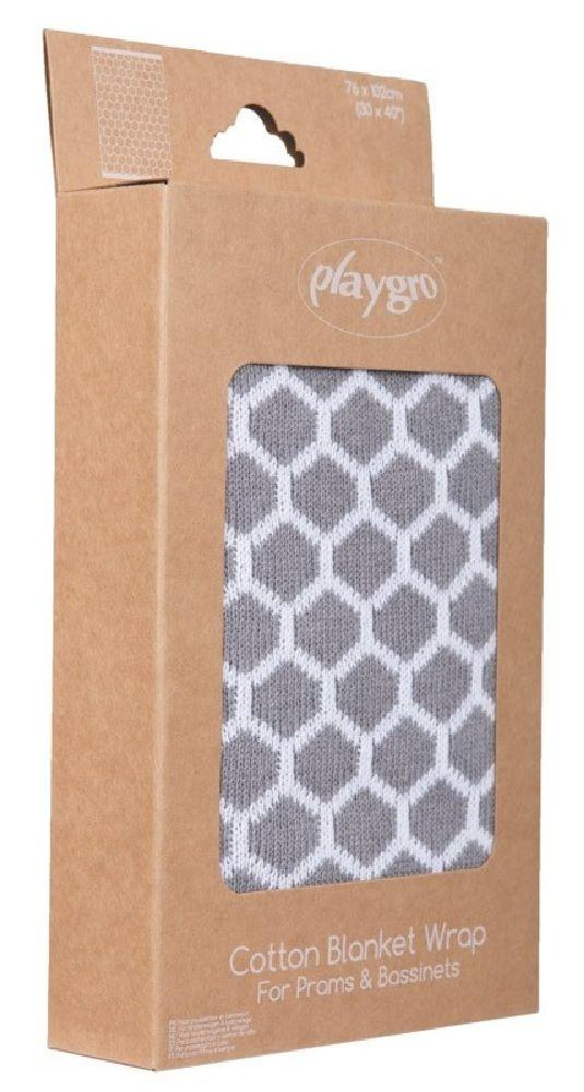 Playgro Knitted Blanket Honeycomb Grey/White image 3