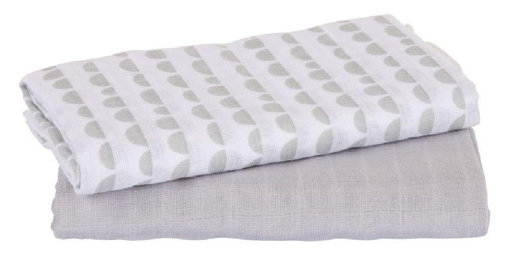Playgro Muslin Wrap Grey/White 2 Pack