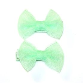 4Baby Mesh Bow Clips Mint