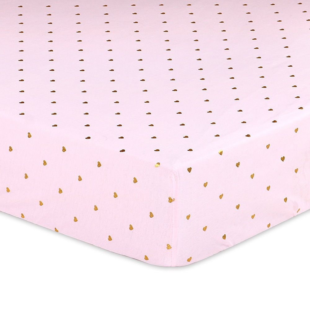 4Baby Jersey Metallic Bassinet Fitted Sheet Pink & Gold Hearts 2 Pack image 0