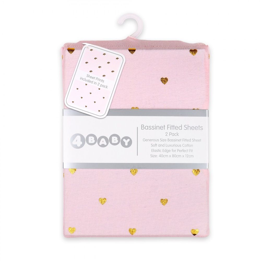 4Baby Jersey Metallic Bassinet Fitted Sheet Pink & Gold Hearts 2 Pack image 1