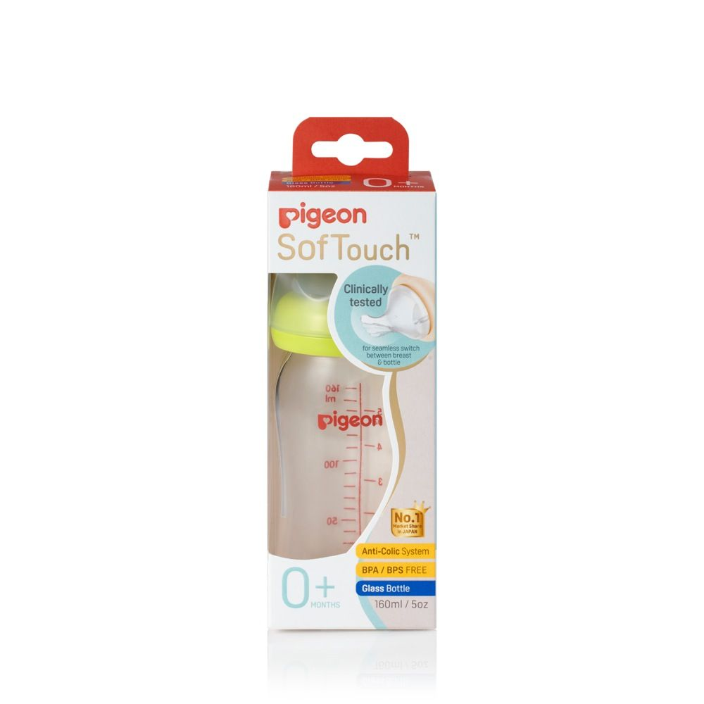 Pigeon Wide Neck Glass Bottle with SofTouch Peristaltic Plus Teat - 160ml image 0