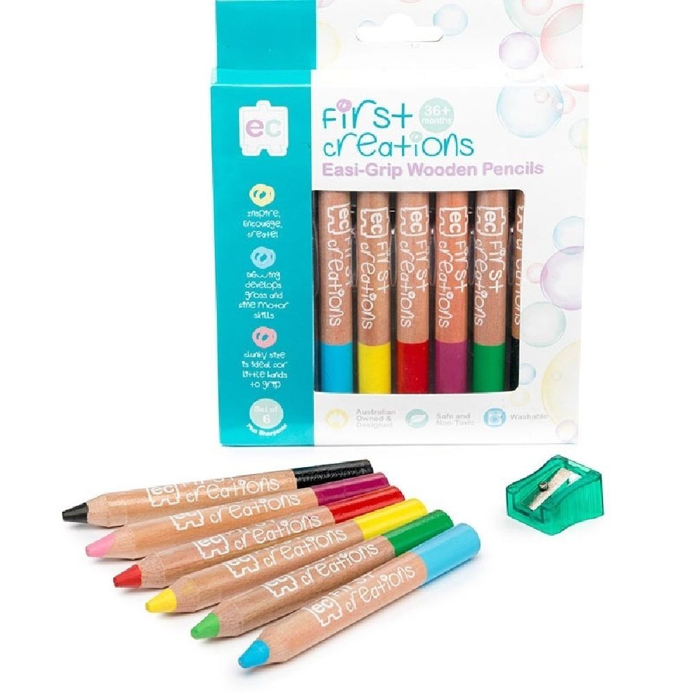 First Creations Easi-Grip Wooden Pencils Set Of 6 image 0