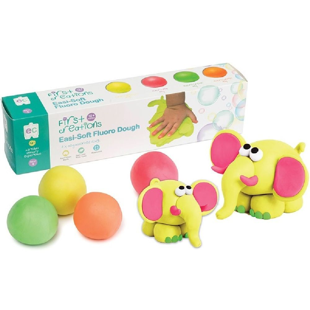 First Creations Easi-Soft Fluoro Dough Set Of 4 image 0