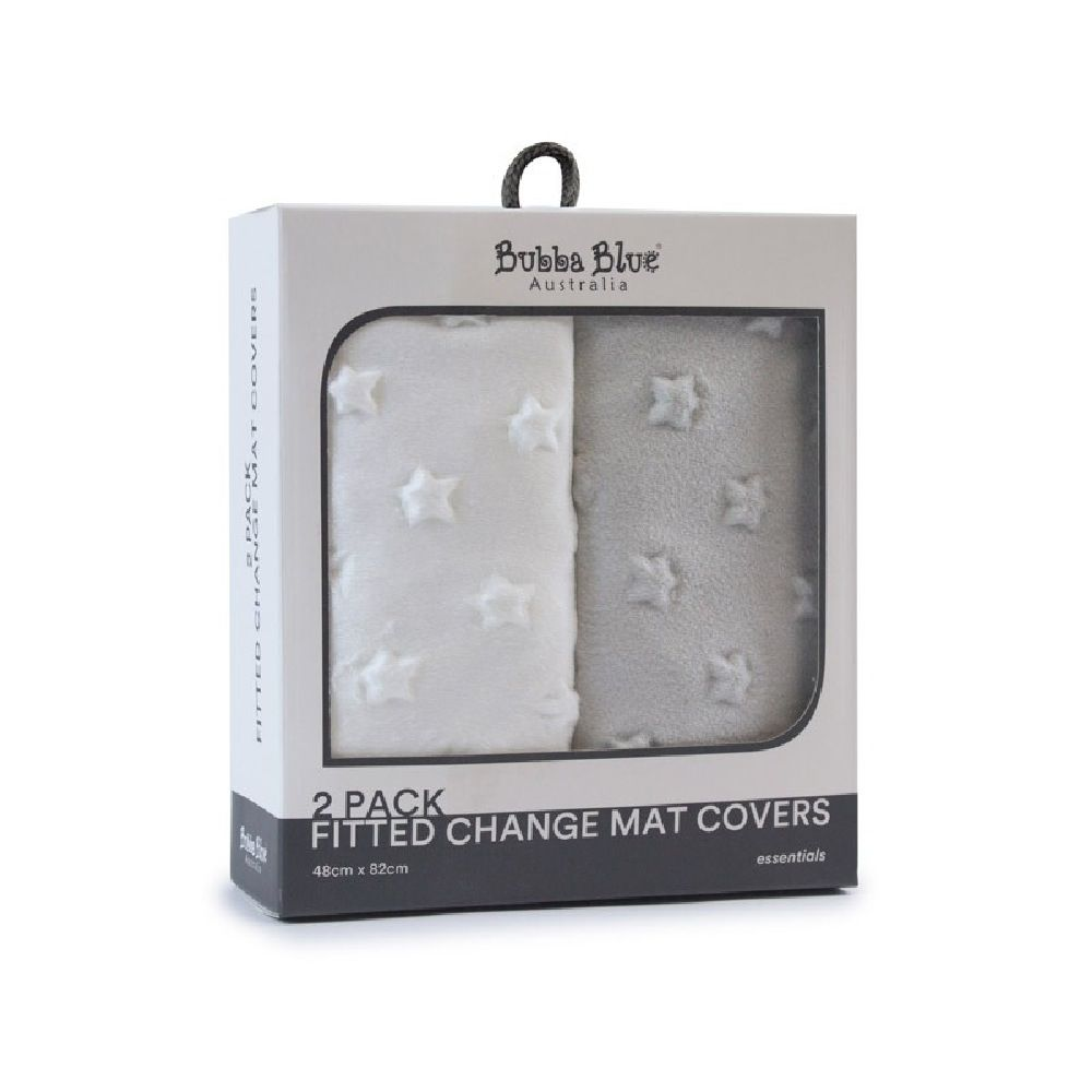 Bubba Blue Essentials Change Pad Cover White/Grey 2 Pack