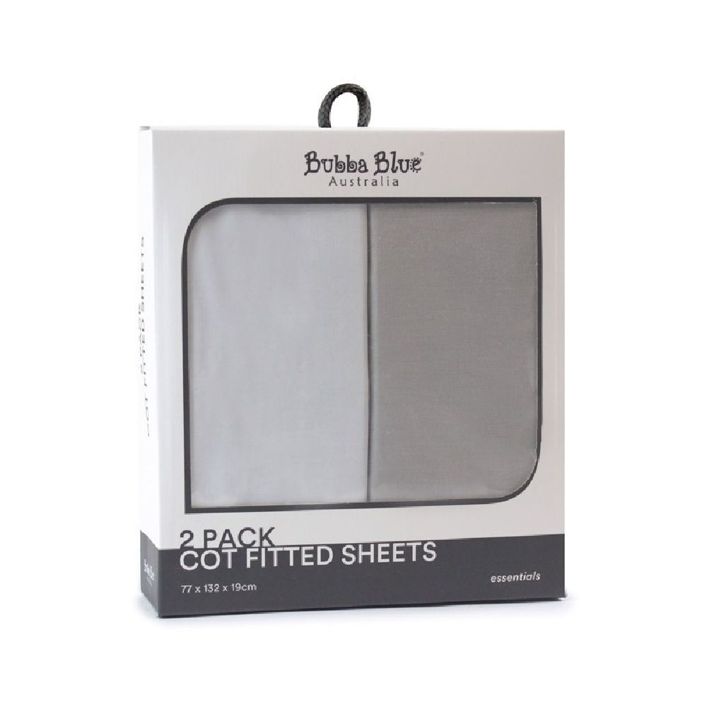 Bubba Blue Essentials Cot Fitted Sheet White/Grey 2 Pack image 0