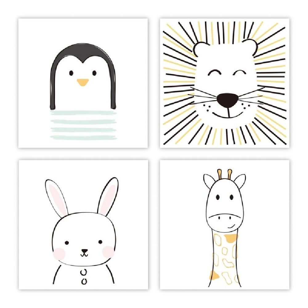 The Peanut Shell Art Prints Sketched Animals 4 Pack