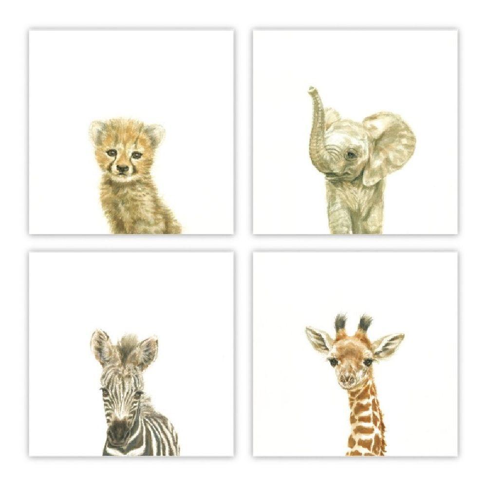 The Peanut Shell Art Prints Watercolour Animals 4 Pack