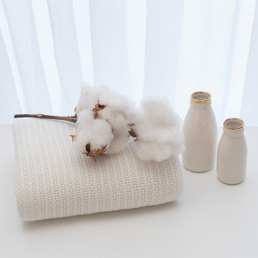 Living Textiles Organic Cell Blanket Bassinet/Cradle Natural image 3