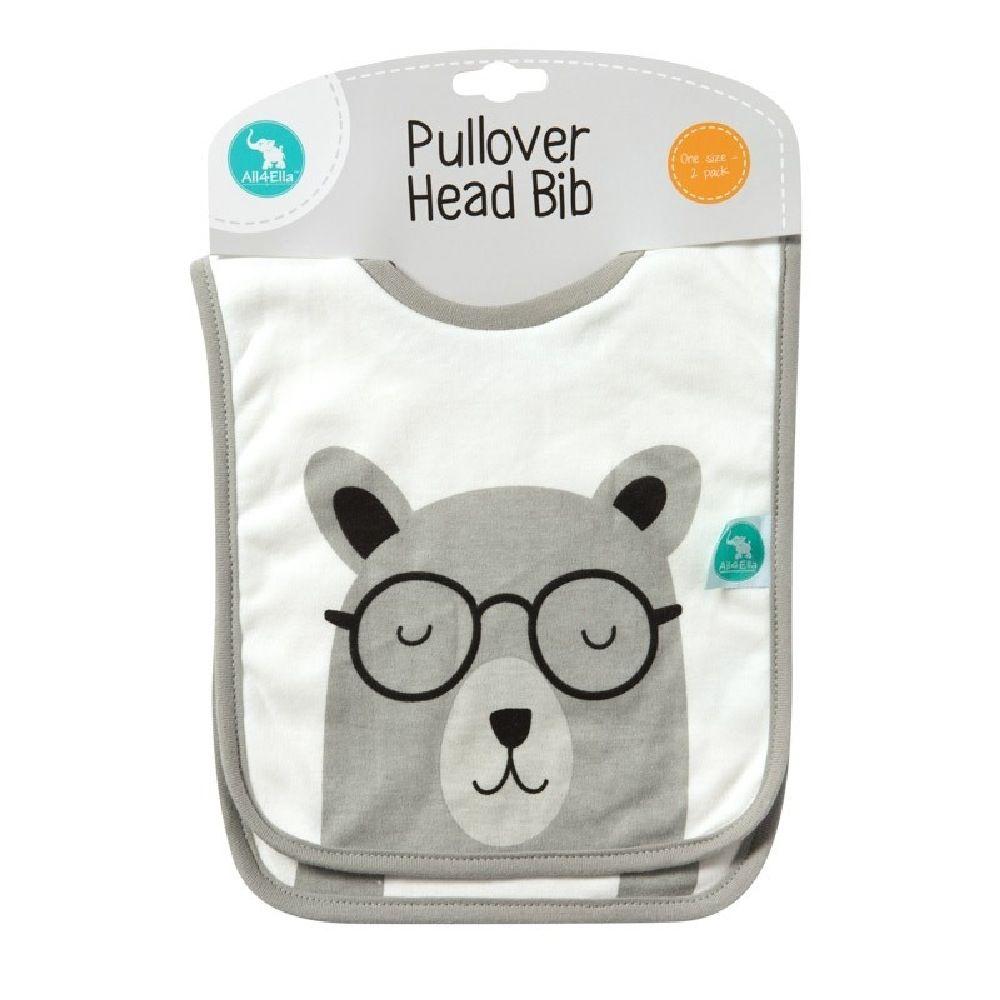 All4Ella Pullover Head Bib Penguin/Bear Grey 2 Pack