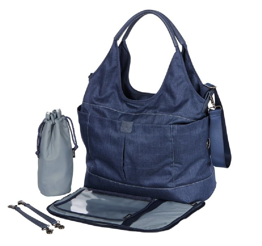OiOi Slouch Bucket Tote Nappy Bag Denim Blue