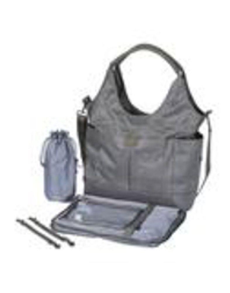 OIOI Slouch Bucket Tote Nappy Bag Grey Denim image 2