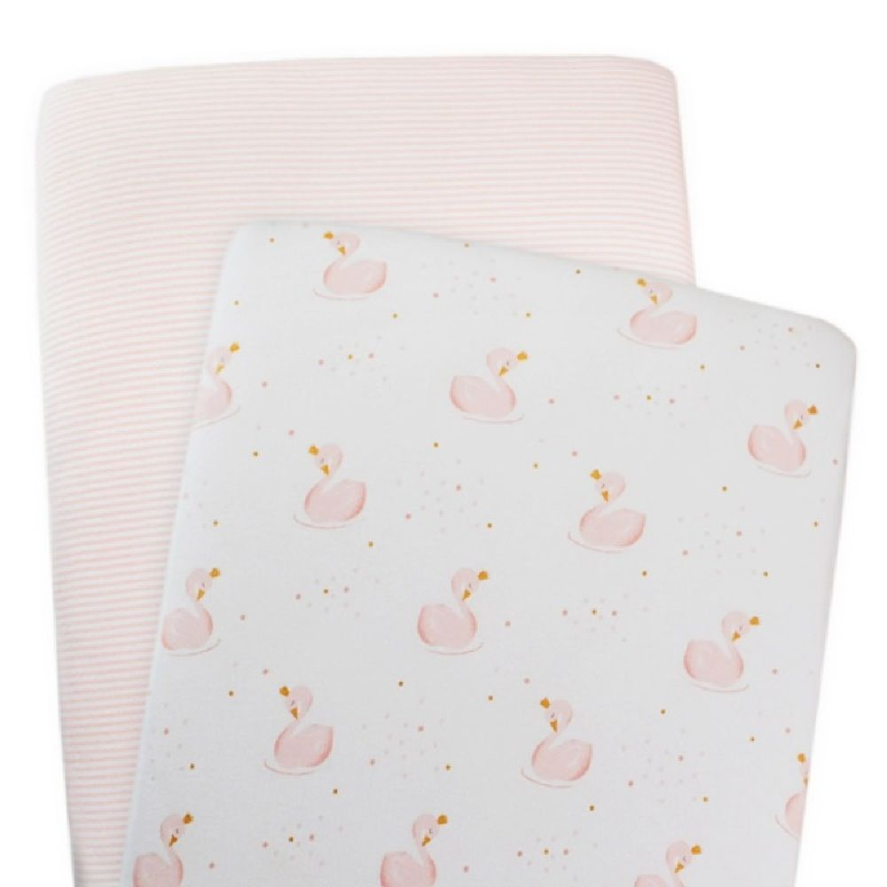 Living Textiles Swan Bassinet Fitted Sheet Swans/Pink Stripe 2 Pack image 0