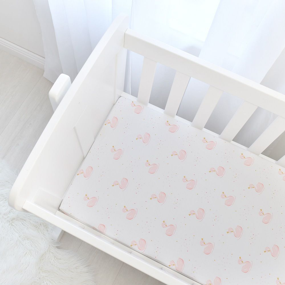 Living Textiles Swan Bassinet Fitted Sheet Swans/Pink Stripe 2 Pack image 1