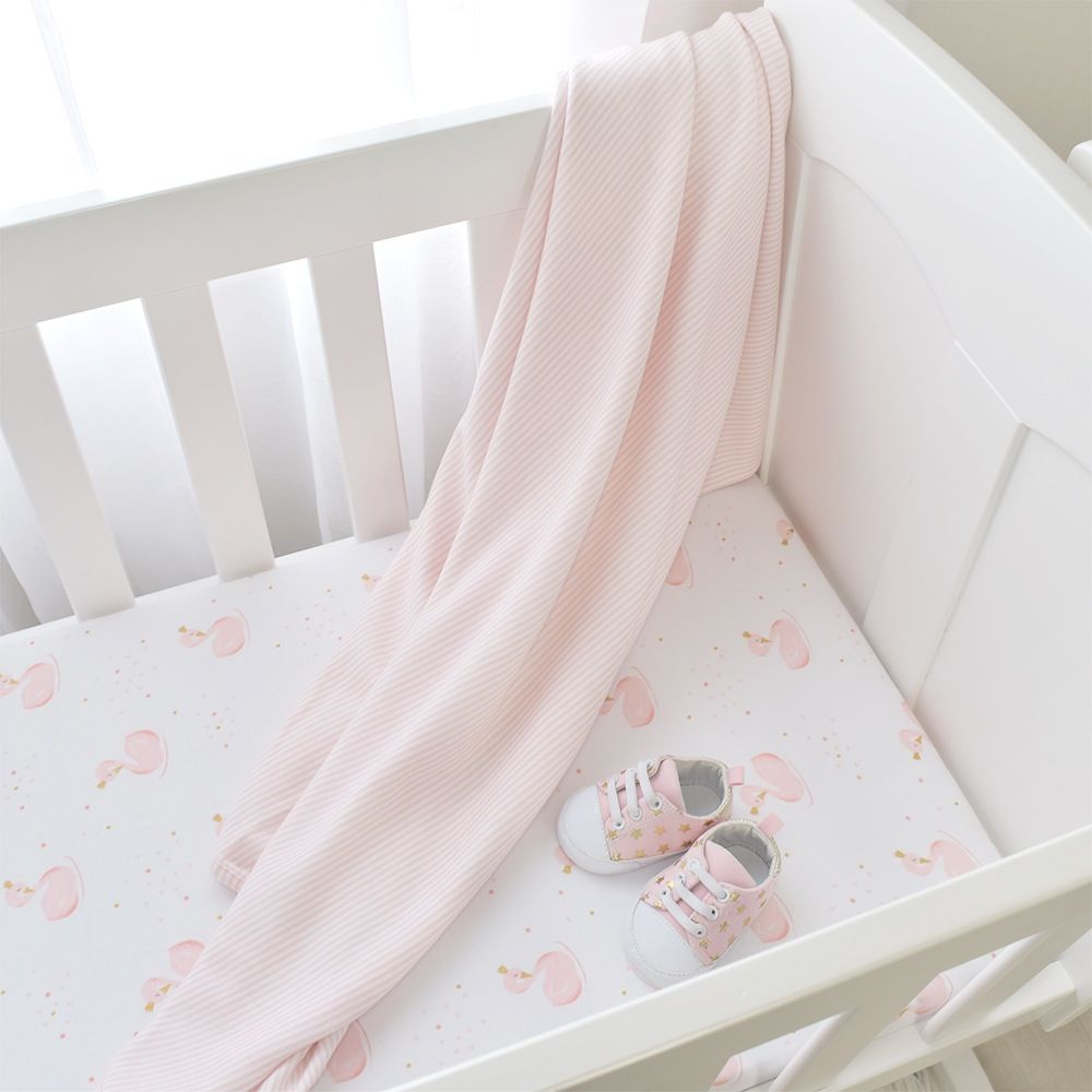 Living Textiles Swan Bassinet Fitted Sheet Swans/Pink Stripe 2 Pack image 2