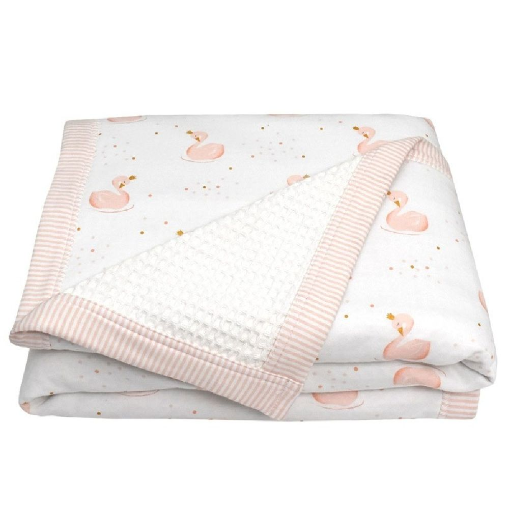 Living Textiles Swan Cot Waffle Blanket Pink