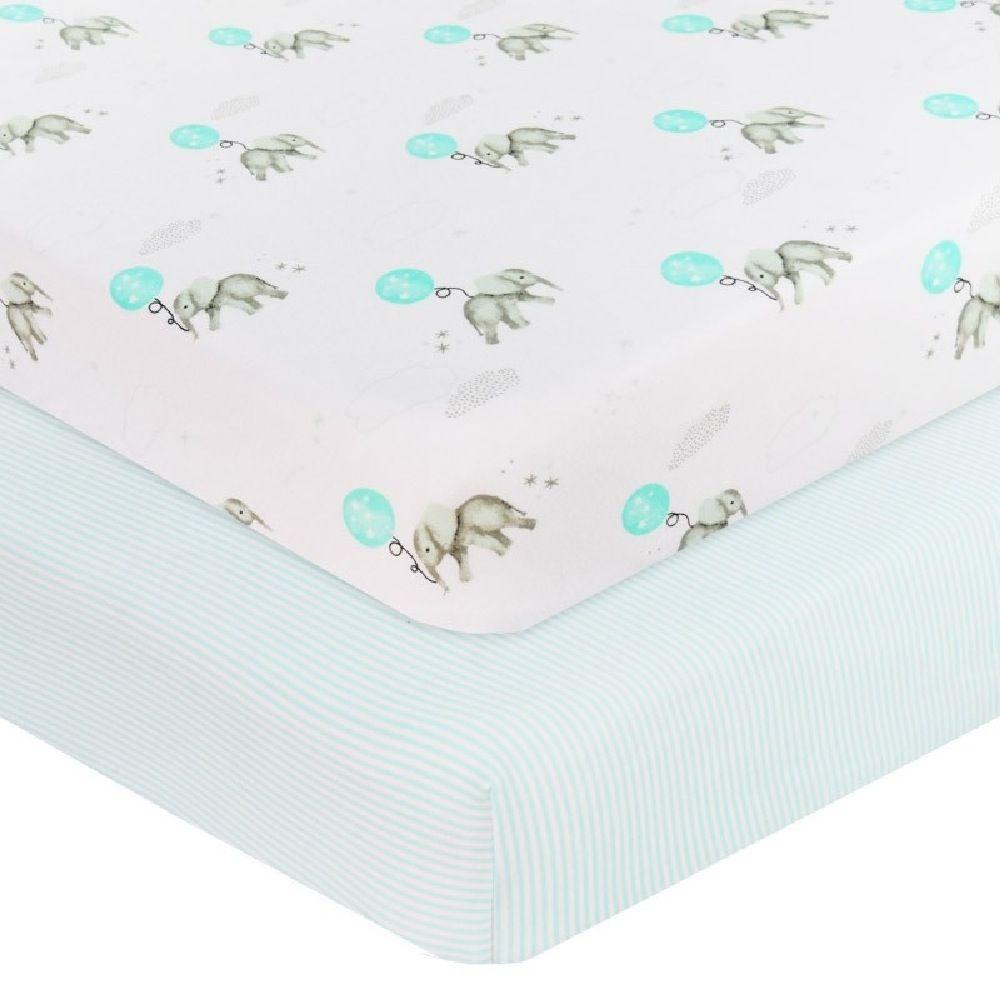 Living Textiles Elephant Bassinet Fitted Sheet Elephant/Aqua Stripe 2 Pack image 0