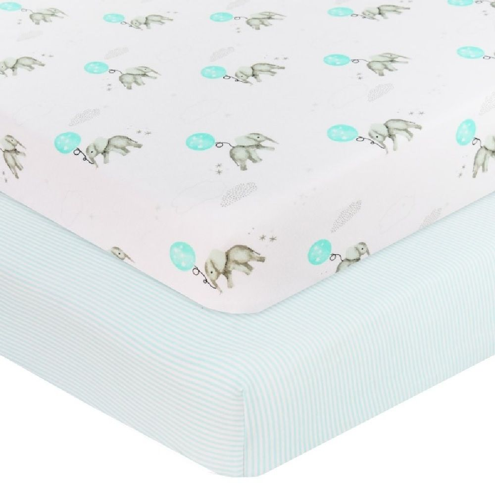Living Textiles Elephant Cot Fitted Sheet Aqua 2 Pack image 0